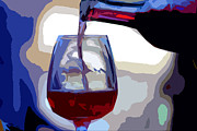 Wine Pour Digital Art Posters - The Pour Poster by Guy Shaham