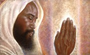 African American Drawings Originals - The Power of Prayer by Raymond Walker