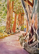Tree Roots Paintings - The Power of the Banyan by Terry Arroyo Mulrooney