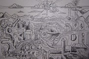 Surrealism Landscape Drawings Prints - The Powerful Sun Poors Down on this Landscape Print by Timothy  Foley