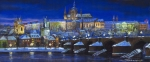 Night Light Prints - The Prague Panorama Print by Yuriy  Shevchuk