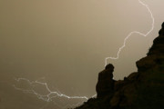 Monsoons Metal Prints - The Praying Monk Lightning Strike Metal Print by James Bo Insogna
