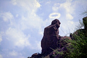 Phoenix Lightning Art - The Praying Monk with Halo - Camelback Mountain - Painted by James Bo Insogna