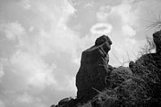 Phoenix Lightning Art - The Praying Monk with Halo - Camelback Mountain BW by James Bo Insogna