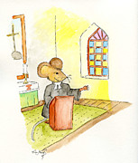 Mice Drawings Posters - The preaching Mouse Poster by Eva Ason