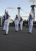 Us Navy Photos - The Precision Rifle And Flag Drill Team by Stocktrek Images
