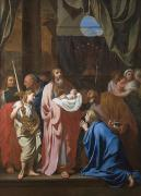 Menorah Paintings - The Presentation of Christ in the Temple by Charles Le Brun