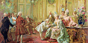 Mozart Prints - The presentation of the young Mozart to Mme de Pompadour at Versailles Print by Vicente de Parades