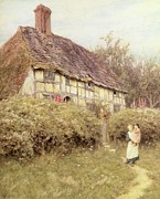 Country Cottage Framed Prints - The Priests House West Hoathly Framed Print by Helen Allingham