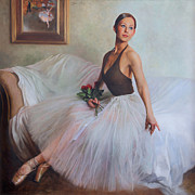 Graceful Painting Posters - The Prima Ballerina Poster by Anna Bain