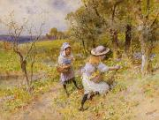 Path Painting Prints - The Primrose Gatherers Print by William Stephen Coleman