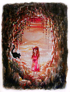 Magenta Dress Posters - The Princess and the Cat Poster by Rachel Christine Nowicki