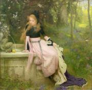 Fountain Painting Prints - The Princess and the Frog Print by William Robert Symonds