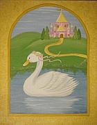 Geese Drawings Prints - The Princess Swan Print by Valerie Chiasson-Carpenter