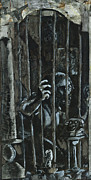 Charcoal Mixed Media Metal Prints - The Prisoner Metal Print by David Finley