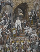 Palm Sunday Paintings - The Procession in the Streets of Jerusalem by Tissot