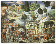 Caspar Framed Prints - The Procession of King Caspar Framed Print by Benozzo Gozzoli