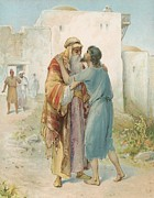 Bible Painting Prints - The Prodigals Return Print by Ambrose Dudley