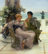 Engagement Painting Framed Prints - The Proposal Framed Print by Sir Lawrence Alma Tadema