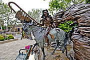 Sculpture Greeting Cards Posters - The Proud Indian  Warrior Poster by James Steele