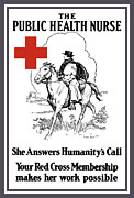 Patriotic Mixed Media Prints - The Public Health Nurse Print by War Is Hell Store