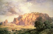 Village Scene Paintings - The Pueblo of Acoma in New Mexico by Thomas Moran