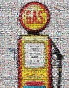 Mosaic Mixed Media - The Pump mosaic by Paul Van Scott