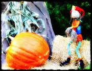 Harvest Time Digital Art Framed Prints - the Pumpkin and the Scarecrow Framed Print by Bill Cannon