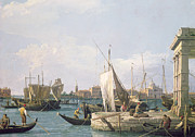 Gondolas Paintings - The Punta della Dogana by Canaletto