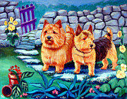 Puppies Paintings - The Purple Gate - Norwich Terrier by Lyn Cook