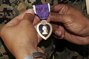 Award Posters - The Purple Heart Award Poster by Stocktrek Images