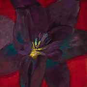 Yellow Pastels Originals - The Purple Lily by David Patterson