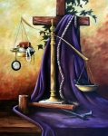 Justice Painting Prints - The Purple Robe Print by Cynara Shelton