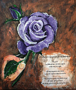 Irresistible Framed Prints - The Purple Rose Framed Print by Elisabeth Dubois
