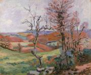 Red Sky Paintings - The Puy Barion at Crozant by Jean Baptiste Armand Guillaumin