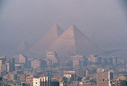 Ruins And Remains Prints - The Pyramids At Giza And Cairo Print by Martin Gray