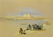 Boats On Water Prints - The Pyramids at Giza near Cairo Print by David Roberts