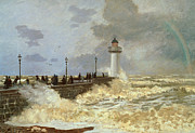 Lighthouse Paintings - The Quay at Le Havre by Claude Monet