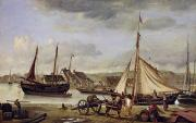 Ocean Scenes Prints - The Quay at Rouen Print by Jean Baptiste Camille Corot