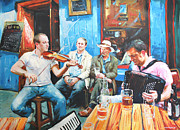 Blue Jeans Posters - The Quay Players Poster by Conor McGuire