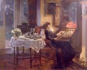 Oil Lamp Paintings - The Quiet Hour by Albert Chevallier Tayler