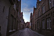 Jeka World Photography Prints - The Quiet Narrow Cobbled Streets of Bruges Print by Jeka World Photography