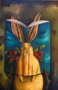 Humor. Paintings - The Rabbit Story by Leah Saulnier The Painting Maniac