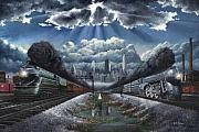 Steam Train Paintings - The Race by David Mittner