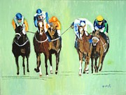 Horse Race Paintings - The Race is On by Judy Kay