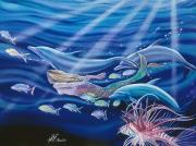 Dolphin Art Paintings - The Race by Mary Lucas Faustine - Printscapes