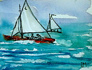 Seascape Drawings Originals - The Race by Pete Maier