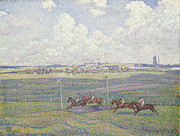Horse Racing Painting Prints - The Racecourse at Boulogne-sur-Mer Print by Theo van Rysselberghe
