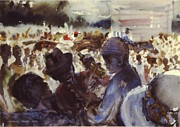 Spectators Paintings - The Races by Charles Hawes