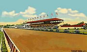 Grandstands Framed Prints - The Racetrack And Grandstand At Havre De Grace Md In 1941 Framed Print by Dwight Goss